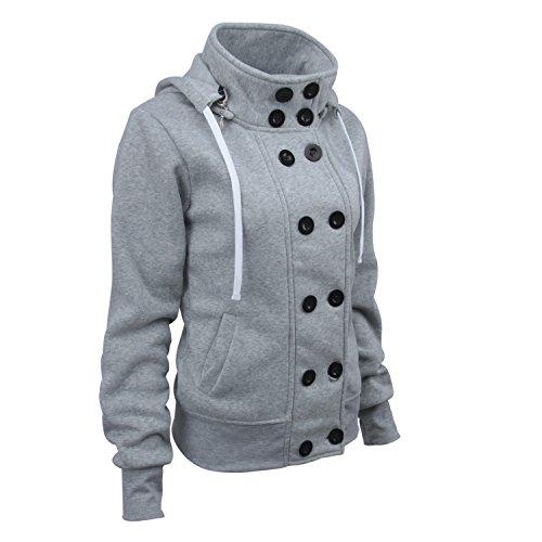 in Giacca cotone Detachable Hoodie Lunghe Coat Hood Breasted colletto Jacket Felpa Cappotto Collo a szivyshi Grigio Maniche Alto Double Giubbotto Sweatshirt Incappucciato BFwf6xzxvq