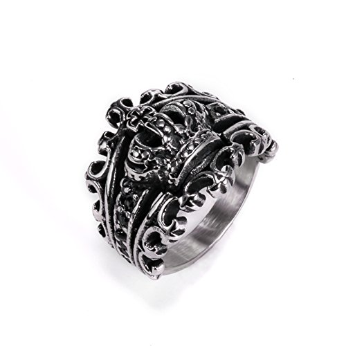 Herinos Mens Stainless Steel Crown Ring King Cross with Hollowed-out Design Black by Size 8