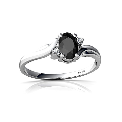 Oval Swirl Ring - 14kt White Gold Black Onyx and Diamond 6x4mm Oval Swirls Ring - Size 5