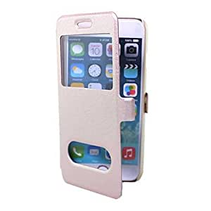 DD Silk Pattern PU Leather with Plastic & Display Window for iPhone 6 (Assorted Colors) , Rose