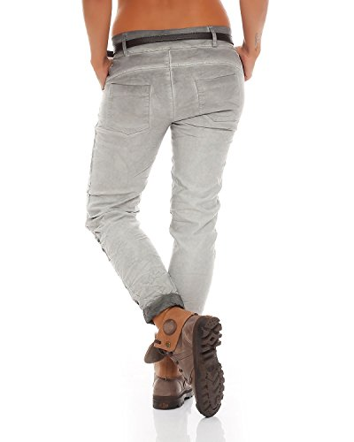 Grigio Letter Baggy Fantasy ZARMEXX Stampa Ladies Stretch Pants Boyfriend Chinos 10912 Jeans Jeggings qx7fpxE