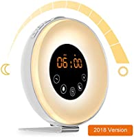 AK1980 Alarm Clock with Wake-up Light Sunrise Simulation and FM Radio Function for Kids Teens Aged Sportsman Worker...