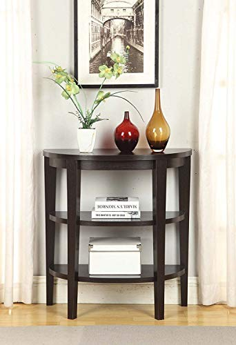 (3 Tier Console Table Half Moon Design Entryway Furniture Display Storage Shelves Side Sofa Table Telephone Stand Hallway Home Office Living Room Wood)