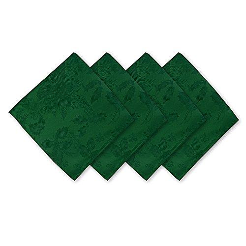 Christmas Carol Damask No Iron Soil Release Holiday Napkin Set - 4 Piece Napkin Set. Hunter (Green Finish Gold)