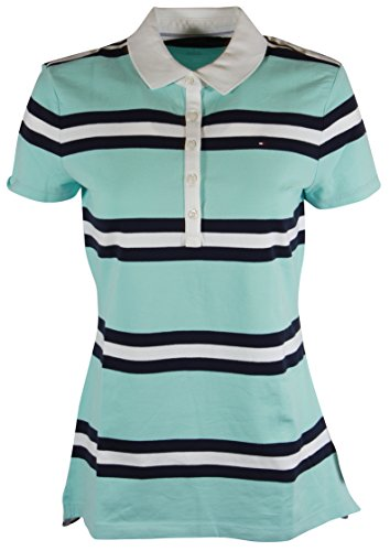 Tommy Hilfiger Womens Classic Fit Logo Polo T-Shirt (Large, Aqua/Navy/White (Classic Logo White Tee)