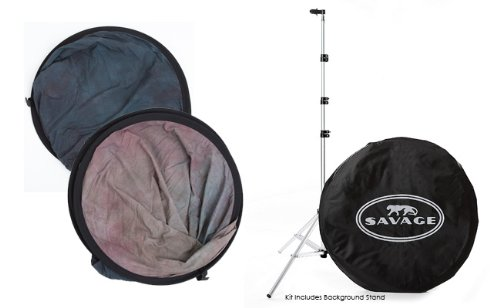 Savage Double Sided Collapsible Background Kit (Indigo Nights) complete with Stand