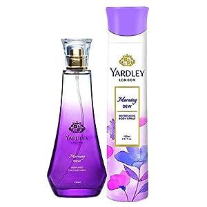 Yardley London Morning Dew Daily Wear Perfume for Women, 100ml + Yardley London Morning Dew Refreshing Deo for Women…