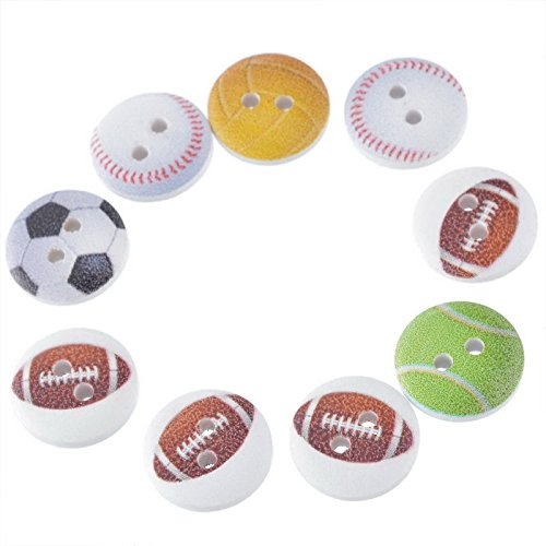 CynKen 100pcs Wooden Soccer football, baseball, volleyball and tennis Mixed Pattern Sewing Buttons DIY Craft Purse Baby Clothes Decoration Sewing Button