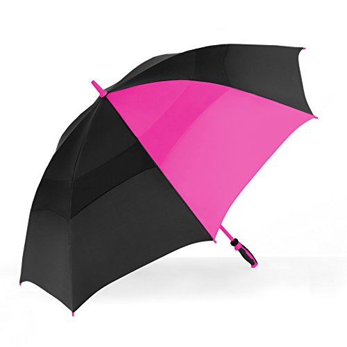 ShedRain Windjammer Vented Color Pop Golf Wind Umbrella  Black and Hot Pink 77358dd5ffd95
