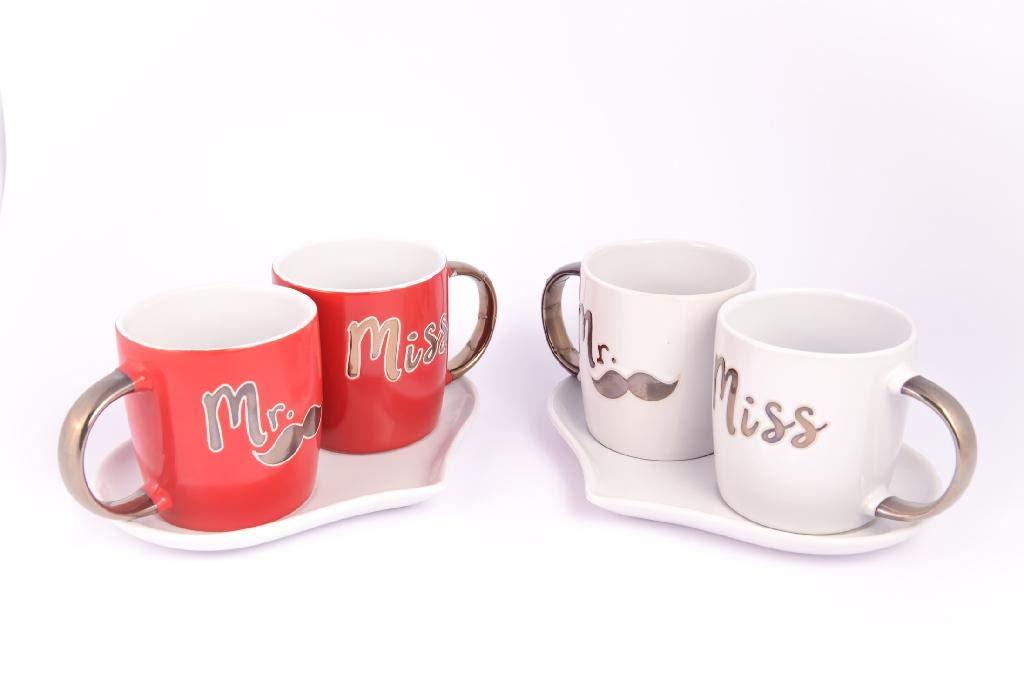 Bianco Tete a Tete Mug Set 2 Tazze Colazione Mr /& Mrs Rosso Oro Bianco Ceramica Piattino Cuore Mercury