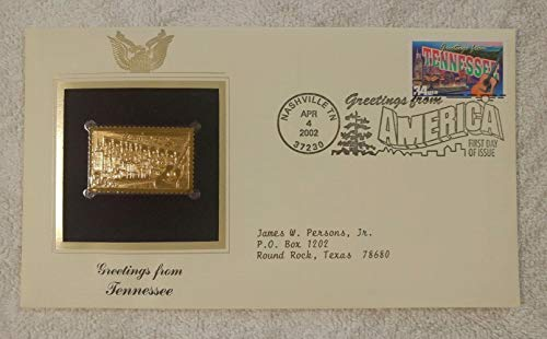 Greetings from Tennessee - FDC & 22kt Gold Replica Stamp plus Info Card - Greetings from America Series (Postcard Theme) - Postal Commemorative Society, 2002 - Country Music, the Nashville Skyline, Great Smoky Mountains National Park