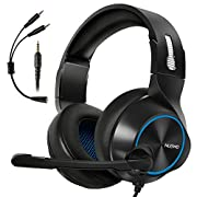 #LightningDeal Gaming Headset for Xbox One, PS4, PC, Controller, ARKARTECH Noise Cancelling Over Ear Headphones with Mic, Bass Surround Soft Memory Earmuffs for Computer Laptop Switch Games