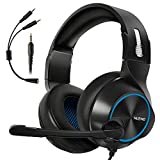 ARKARTECH Gaming Headset for Xbox One, PS4, PC, Controller, Noise Cancelling Over Ear Headphones with Mic, Bass Surround Soft Memory Earmuffs for Computer Laptop Switch Games