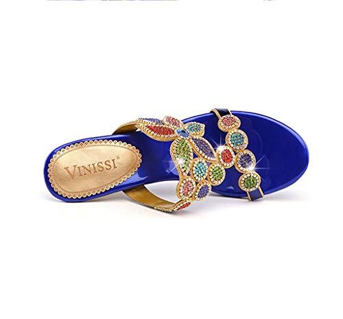 Pour Été Cuir Sandales Pantoufles Et Style blue En Hrn Nouveau Épaisses Avec Bout Femmes Ouvert Hauts Talons 36eu Strass À Z5xndInwSq