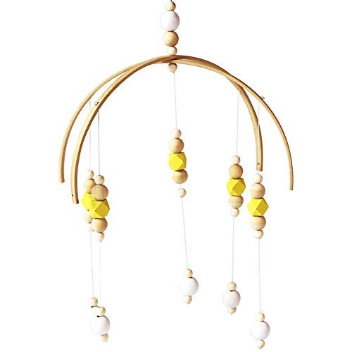 SuBoZhuLiuJ Nordic Wooden Beads Wind Chimes Baby Crib Hanging Ornaments Decor for Kid Room Home Bedroom Photo Studio Prop Yellow ()