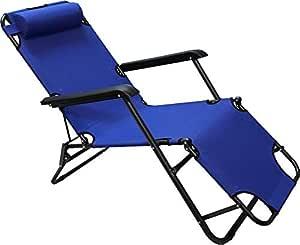 كرسي وسرير 3 في 1 للرحلات والتخييم قابل للطي - ازرق