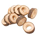 Fityle 10PCS Wooden Napkin Serviette Rings Holders for Wedding Party Dinner Decoration
