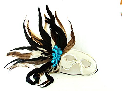 Mardi Gras Ball Wand (Feather Mask White with Blue Cluster Mardi Gras Masquerade Ball Party Prom)