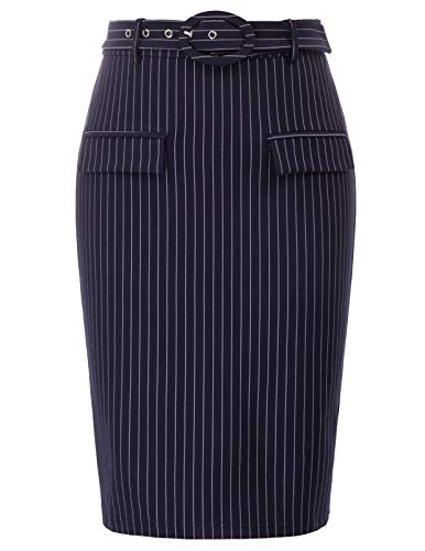 Women's Casual Classic Bodycon Pencil Skirt with Belted(Small, Navy Blue)