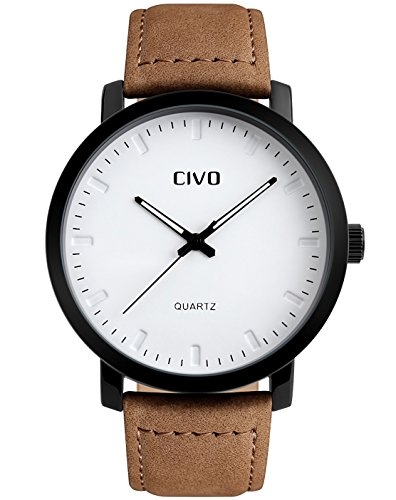 CIVO Men's Brown Leather Band Waterproof Wrist Watch Luxury Business Casual Simple Design White Dial