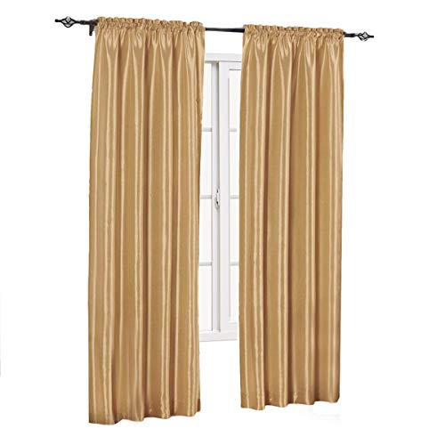 sheetsnthings Soho Faux Silk, 84-Inch Wide x 63-Inch Long, Polyester, Set of 2 Curtain Panels, Gold (Gold Panels 2 Curtains)