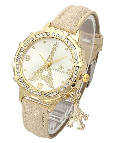 Top Plaza Womens Ladies Fashion Casual Leather Analog Quartz Wrist Watch Unique Tower Pattern Rhinestones Golen Case Dress Watches with Small Tower Charm(Gold) (Girls Gold Watch)
