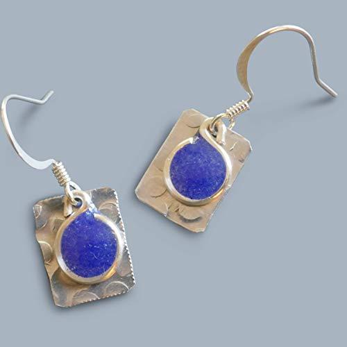 little cobalt handmade lightweight silvertone womens rectangle dangle earrings