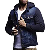 iZHH Mens Autumn Winter Coat Outwear Jacket Hooded Vintage Distressed Denim Tops(Blue,US-S)