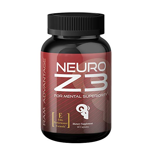 Superior Brain Performance Supplement Neuro Z3 Premium Nootropic by RAM ADVANTAGE Designed to Support Memory, Enhance Focus, Boost Energy and Mental Clarity 60 ct