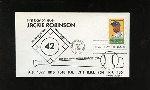 Jackie Robinson First Day Issue Stats Black Heritage Series Letter Envelope Cooperstown Stamp Brooklyn Dodgers