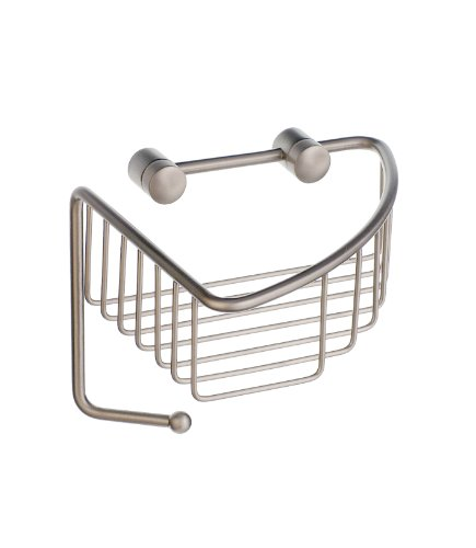 Sideline Corner Soap Basket in Brushed Nickel Finish by Smedbo