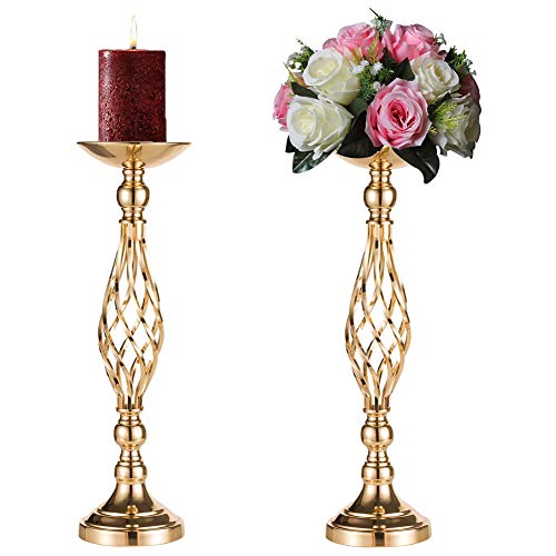 Sziqiqi 2 Pcs/Set Metal Flower Vase, Wedding/Party Flowers Centerpieces for Table, Tall Candle Holder for Pillar Candle, Restaurant Hotel Decorations (52CM ×2)