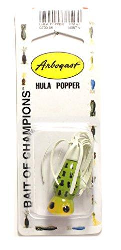 [Arbogast Hula Popper - Frog White Belly - White Skirt - 1 1/4