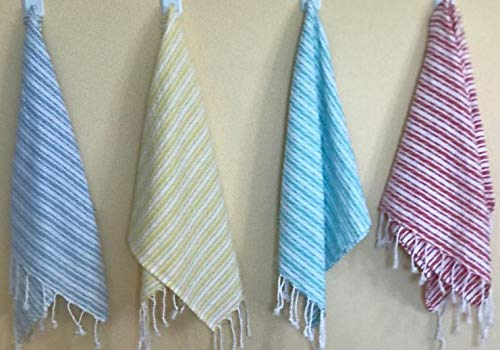 Sualla 100% Cotton - Istanbul Hand Turkish Towel - Hair Face Baby Care Kitchen Tea Dish - Handloom - 16X36 Inches, (Coral, Mint Green, Yellow, Ligh Blue) (Set of 8)
