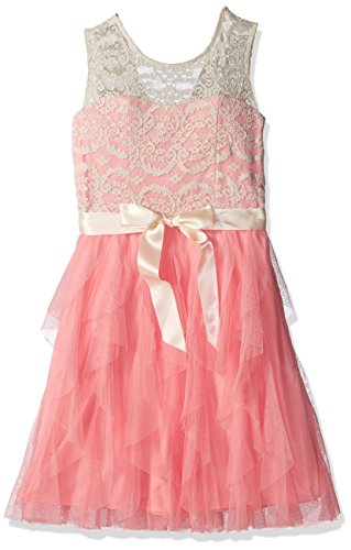 Rare Editions Girls' Big' Lace Illusion Party Dress, Ivory/Blush, 7 ()