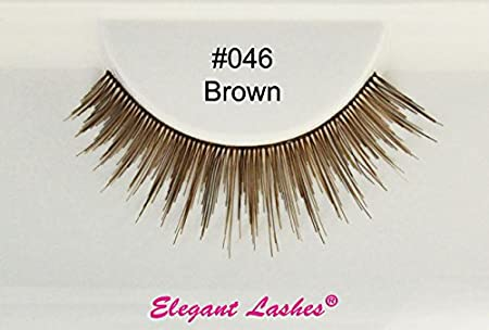 3ab89b0cfd2 Elegant Lashes #046 Brown False Eyelashes (Natural Length Professional 100%  Human Hair False Eyelashes) by Elegant Lashes: Amazon.co.uk: Beauty