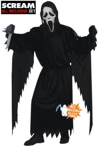 All inclusive Scream Ghostface Halloween Kostüm Set 2013 original Scream Maske mit Haube, Kutte (Erwachsenengröße one size fits most), Handschuhe, original Scream Messer