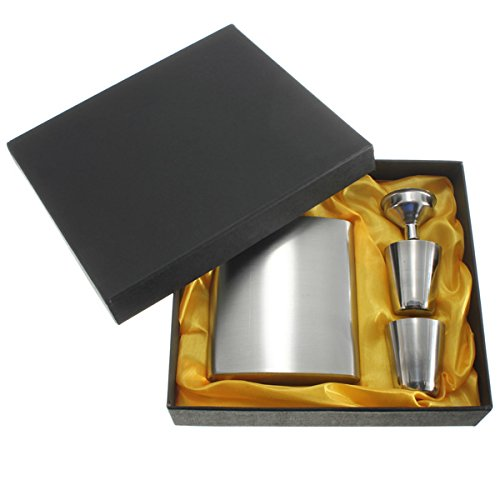 Shop24Hrs Portable Stainless Steel Whiskey Wine Pot Bottle Vodka Flagon Hip Flask Gift Box (Wicker Wrapped Box)