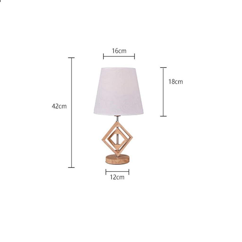 AAXUE Schreibtischlampe Tischlampe Europäischen Kreative Wohnzimmer Studie Dekoration Tuch Lampenschirm Tischlampe Schlafzimmer Nacht Kommode Massivholz Lampe LED Taste Schalter Licht