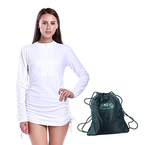MZ Garment Rash Guard for Women - Rashguard Shirt Swimwear Long Sleeve Top Swimsuit UV Dive Skin Swim Shirt (901-white, L) by MZ Garment