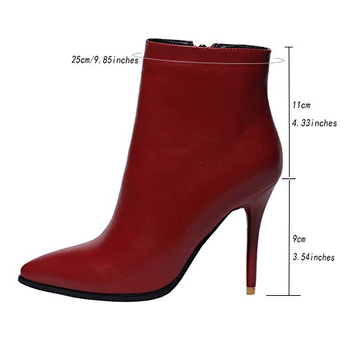 VOCOSI Women Fashion Pointed Toe High Heels Ankle Boots Leather Zipper Classic Booties Size 3-7.5 UK Red ZjID8YI
