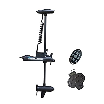 "Aquos Black Haswing Cayman 24V 80LBS 60"" Shaft Bow Mount Electric Trolling Motor Lightweight, Variable Speed, with Foot Control for Bass Fishing Boats Freshwater and Saltwater Use"