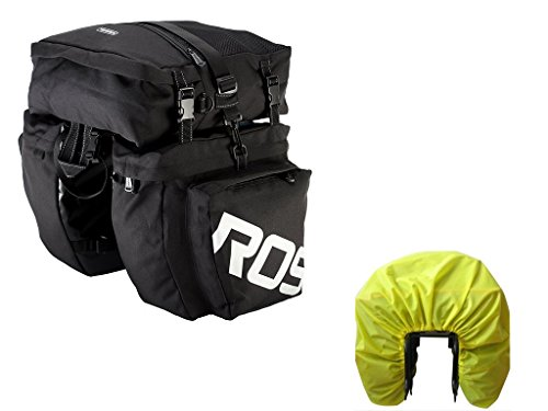 (Bike Pannier Bag with Rain Cover,Luckybuy Bicycle Rear Seat Trunk Bag Waterproof, 3 in 1 Rear Rack Bicycle Saddle Bag for Cycling (Black))