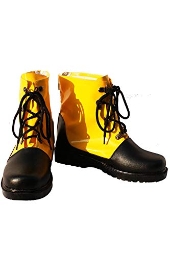 GOTEDDY Men Cosplay Booties Halloween Short Boots Leather Lace-up Flat ()