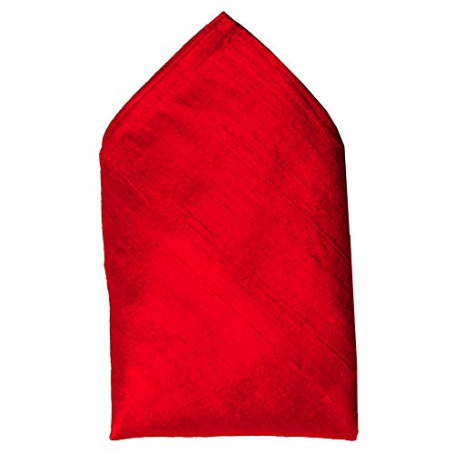 Bright Red Dupioni Silk Pocket Square - Full-Sized 16