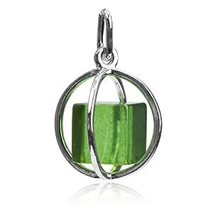 Noda - Colgante de plata de ley ámbar verde