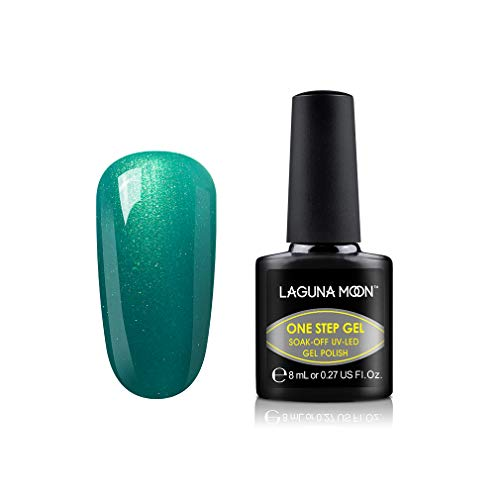 : Lagunamoon Gel Nail Polish One Step UV LED Gel Polish Soak Off Nail Lacquer Art No Base and Top Coat Needed - Blue Mosque