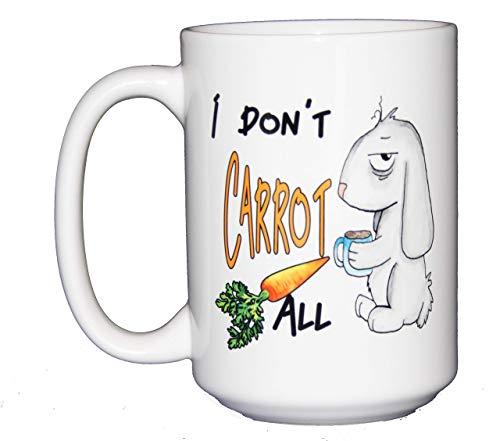 I Don't Carrot All - Funny Punny Watercolor Bunny Rabbit Coffee Mug - Large 15oz -