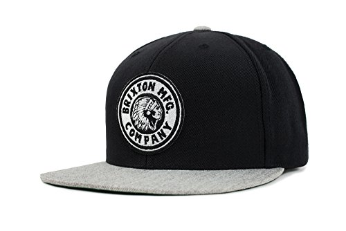 Medium Cap Hat - Brixton Men's Rival Medium Profile Adjustable Snapback Hat, Black/Heather Grey, One Size