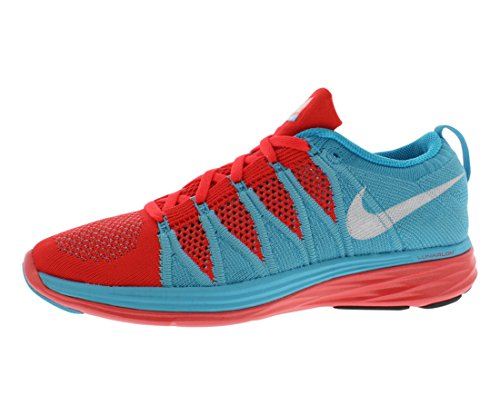Nike Womens Flyknit Lunar2 Scarpa Da Corsa Rossa / Blu